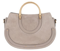 Pixie Medium Shoulder Bag Suede+Smooth Leather Motty Grey Tote