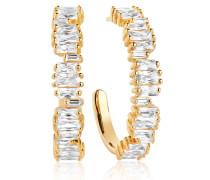 Ohrringe Antella Creolo Grande Earrings White Zirconia 18K Gold Plated