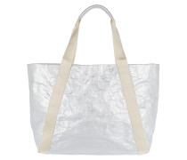 Satin Lara Shopper Silver Tote