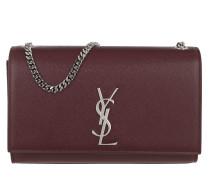YSL Monogramme Chain Clutch Grain de Poudre Rouge Tasche