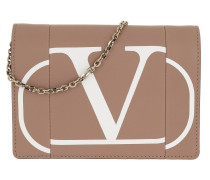Umhängetasche V Logo Print Chain Clutch Leather Rose/Bianco rosa
