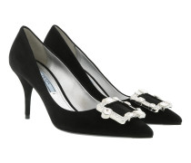 Crystal Buckle Pumps Leather Black Pumps