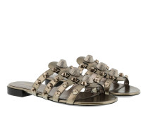 Leather Slides Classic Studs Bronze Schuhe