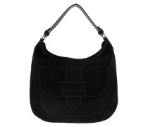 Hobo Bag Suede Shoulder Bag Black/Nickel schwarz