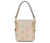 Beuteltasche Mini Bucket Bag Roy Embroidery Calfskin Pastel Grey grau