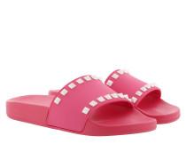 Schuhe Rockstud Flat Pool Sandals Pink/White pink