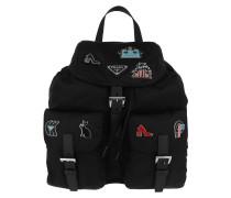 Backpack Nylon Logo Black Rucksack