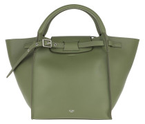 Tote Small Big Bag With Long Strap Leather Light Khaki