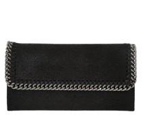 Continental Flap Wallet Shaggy Deer Black Clutch
