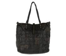 Patchwork Shopping Bag Grigio Umhängetasche braun