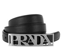 Logo Saffiano Leather Belt Black Gürtel