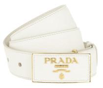 Gürtel Square Buckle Belt Leather Saffiano Bianco weiß