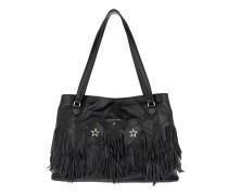 Fringed Handle Bag Black Shopper