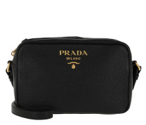 Logo Crossbody Bag Calf Leather Black Tasche