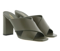 LouLou Mules Leather Green Sandalen