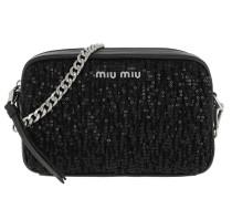 Matelassé Shoulder Bag Sequind And Leather Black Tasche