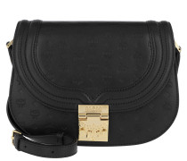 Trisha Monogrammed Small Shoulder Bag Black