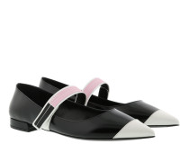 Bicolor Brushed Ballerinas Calf Leather Black/White Ballerinas