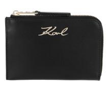 Portemonnaie Signature Zip Card Holder Black