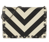 Umhängetasche Wallet On Chain Clutch Leather Black/White weiß