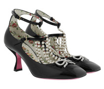 T-strap Pumps With Pearls Black