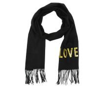 Embroidered Love Scarf Black Schal