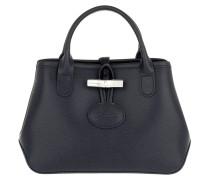 Tote Roseau Crossbody Bag Leather Navy blau