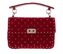 Rockstud Spike Shoulder Bag Velvet Red Tasche