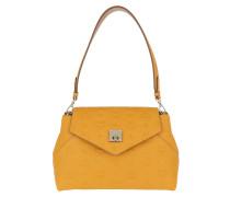 Umhängetasche Essential Monogrammed Leather Crossbody Small Golden Mango gelb