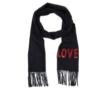 Embroidered Love Scarf Blue Schal