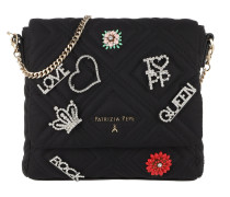 Crossbody Bag Quilted Satin Black Tasche