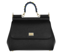 Sicily Small Tote Black Satchel Bag