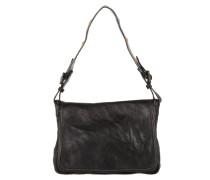 Bandoliera Leather Handbag Embroided Handle Nero Satchel Bag