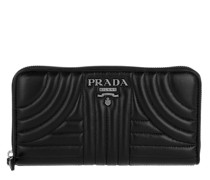 Zip Around Wallet Quilted Leather Black