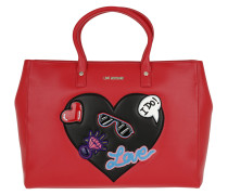 Love Patches Shopping Bag Pu Rosso Shopper