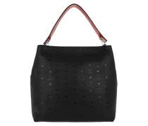 Klara Monogrammed Leather Hobo Large Black Hobo Bag