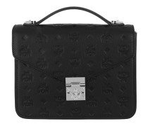 Patricia Embossed Leather Satchel Bag Medium Black Tasche