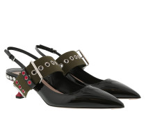 Lack Sling Pumps Leather Black Pumps
