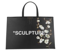 Cotton Flower Box Bag Medium Black/White Tote