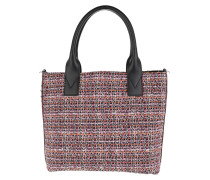 Aguglia Tweed Shopping Tote Multi Nero/Rosa rosa