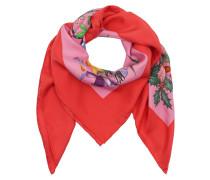 Flora Snake Print Silk Scarf Rose/Rosso Schal rot