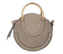 Pixie Double Handle Bag Studded Leather Motty Grey Tote