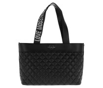 Quilted Shopping Bag Metallic Nero