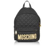 Quilted Textile Backpack Black Gold Rucksack