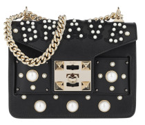 Mila Brave Pearl Studded Chain Shoulder Bag Black