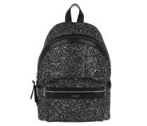 City Backpack Leather Metallic Black Rucksack
