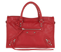 City Tote Tassel Studded Leather Red Tote
