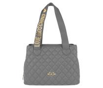 Borsa Nappa Pu Double Handled Handbag Grigio Tote