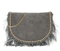 Bag Feathers+Gemstones Suede Dark Grey