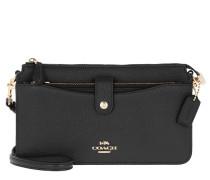 Umhängetasche Polished Pebble Leather Crossbody Bag Black schwarz